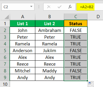 Compare Two Lists in Excel Example 1.4.0