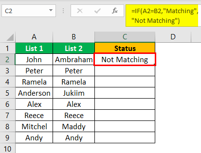 Compare Two Lists in Excel Example 3.3