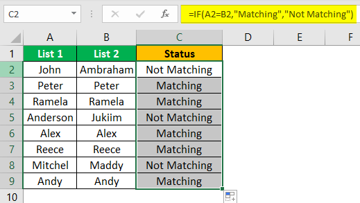 Compare Two Lists in Excel Example 3.4.0