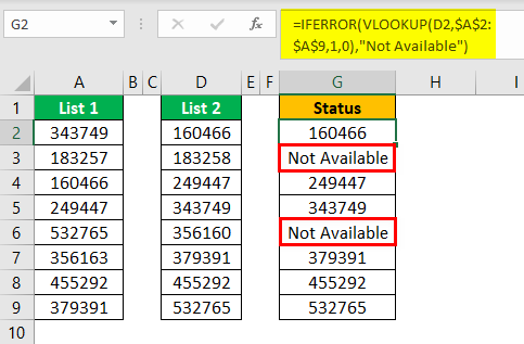 Compare Two Lists in Excel Example 4.2