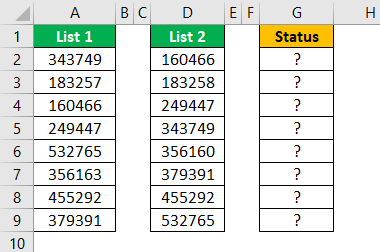 Compare Two Lists in Excel Example 4