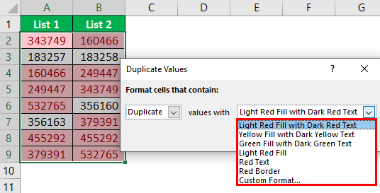Compare Two Lists in Excel Example 5.3