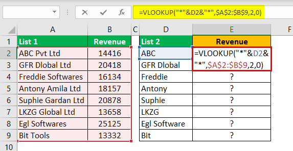 Compare Two Lists in Excel Example 6.1