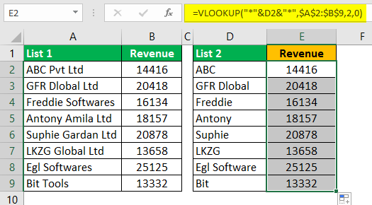 Compare Two Lists in Excel Example 6.3.0