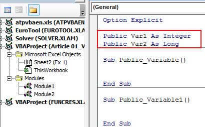 Declare Variables use them Publicly 1-2