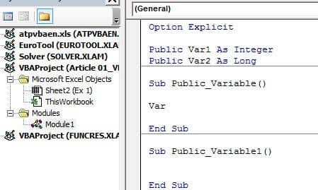 Declare Variables use them Publicly 1