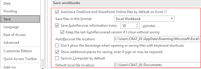 Enable Recover unsaved files tools step 4