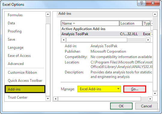 Enable Solver in excel 1.3