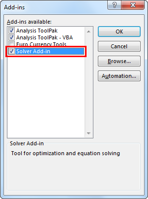 Enable Solver in excel 1.4