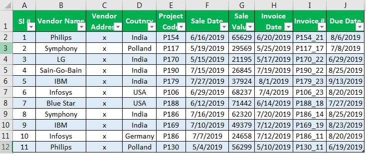Excel Database Template Example 1-4