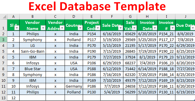 excel database template