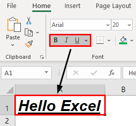 Excel Formatting Text Example 1.13