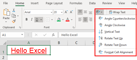 Excel Formatting Text Example 1.18