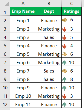 Excel Icon Sets Example 1-3