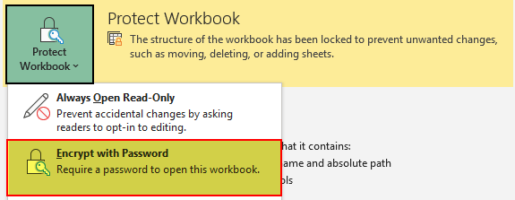 Excel Protect Workbook 2-1