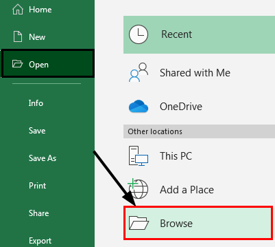Excel Repair Browse Option