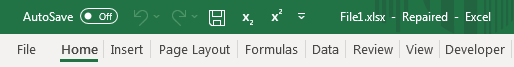 Excel Repaired File