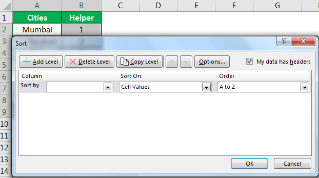 Excel Reverse Order Example 1.3