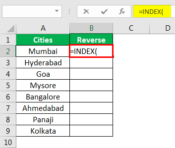 Excel Reverse Order Example 2.2