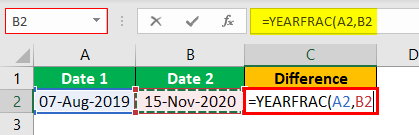 Excel YEARFRAC Example 1.5