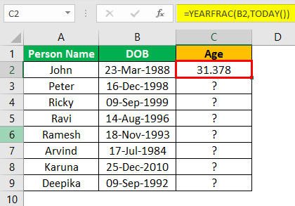 Excel YEARFRAC Example 2.4