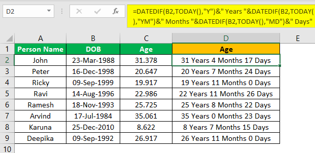 Excel YEARFRAC Example 2.6