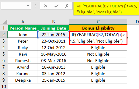 Excel YEARFRAC Example 3.1.0