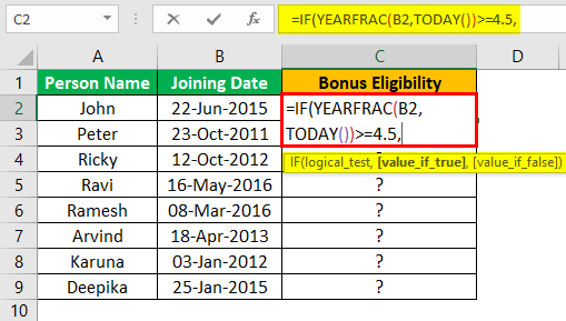 Excel YEARFRAC Example 3.1
