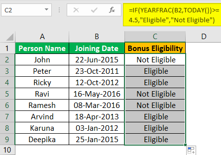 Excel YEARFRAC Example 3.3
