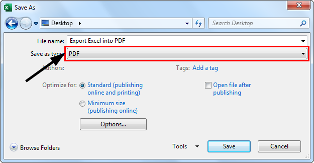 Export Excel into PDF Example 1.2