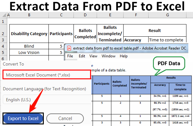 Extract Data from PDF to Excel