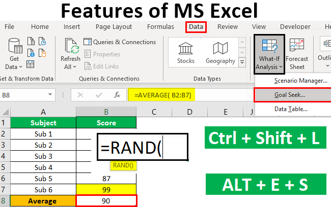Features of Microsoft Excel