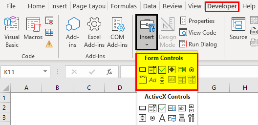 Form Controls in Excel Example 1