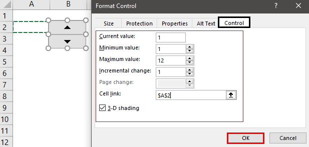 Form Controls in Excel Example 3.2