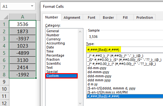 Format Cell in Excel Example 4.1