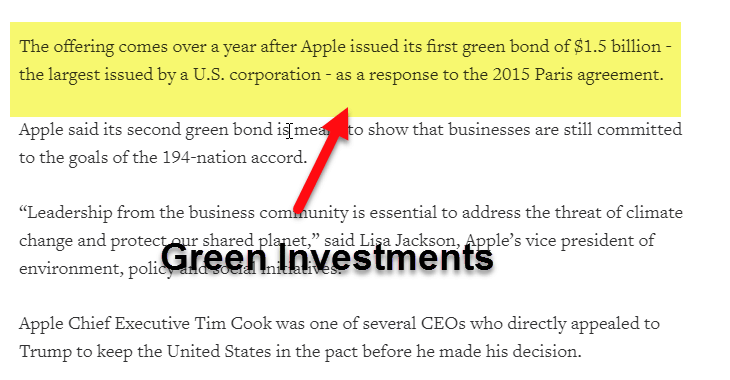 Green Investment - Apple Example