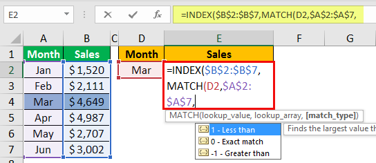 Index Match Function Example 1-5