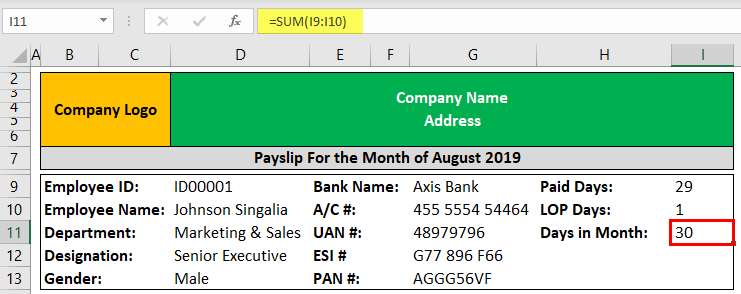 Pay Slip Template Example 1-3