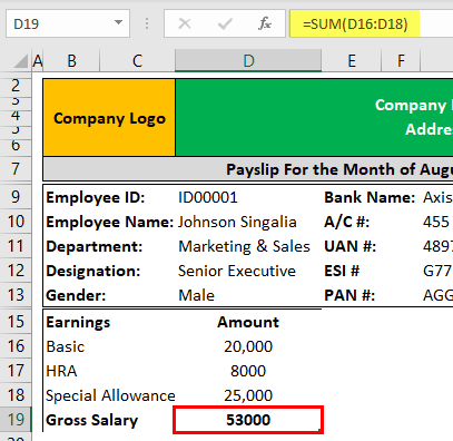 Pay Slip Template Example 1-4