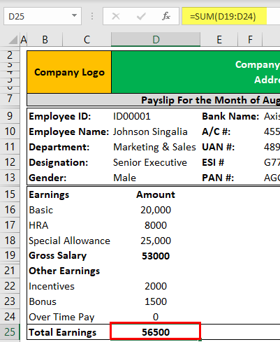 Payslip Template in Excel Example 1-6
