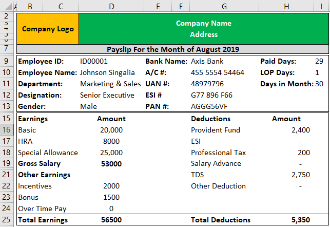 Payslip Template in Excel Example 1-7