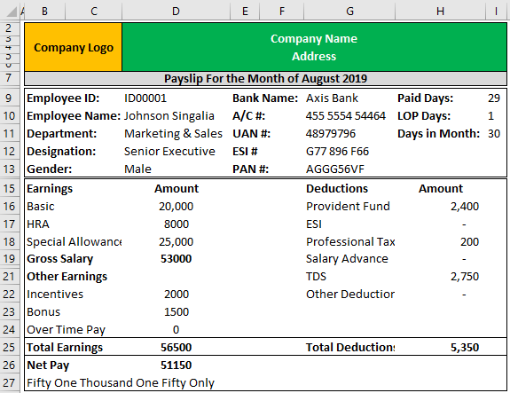 Payslip Template in Excel Example 1-9