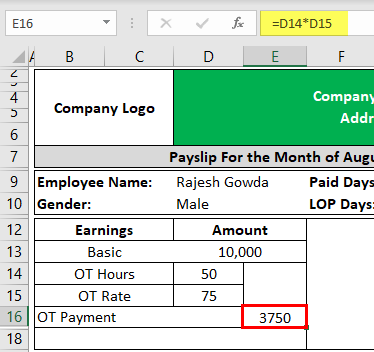 Payslip Template in Excel Example 2-1