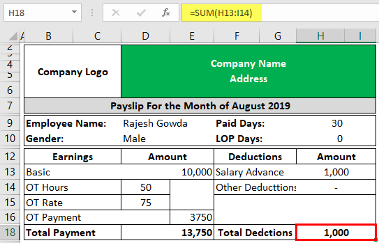 Payslip Template in Excel Example 2-3