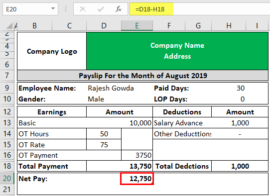 Payslip Template in Excel Example 2-4