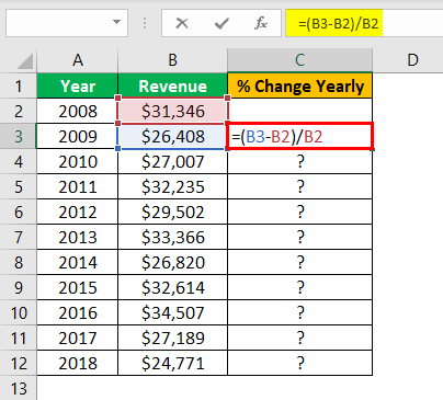Percent Change in Excel Example 1.1