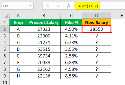 Percent Change in Excel Example 2.2
