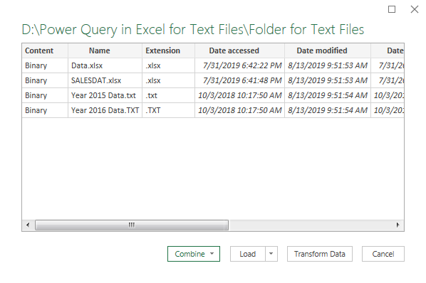 Power Query Excel Example 1.3