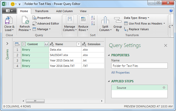 Power Query Excel Example 1.4