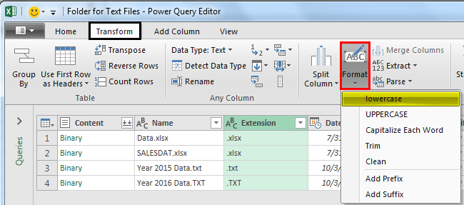 Power Query Excel Example 1.5